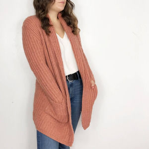 LOFT Coral Pink Chunky Ribbed Cardigan Wool Mohair